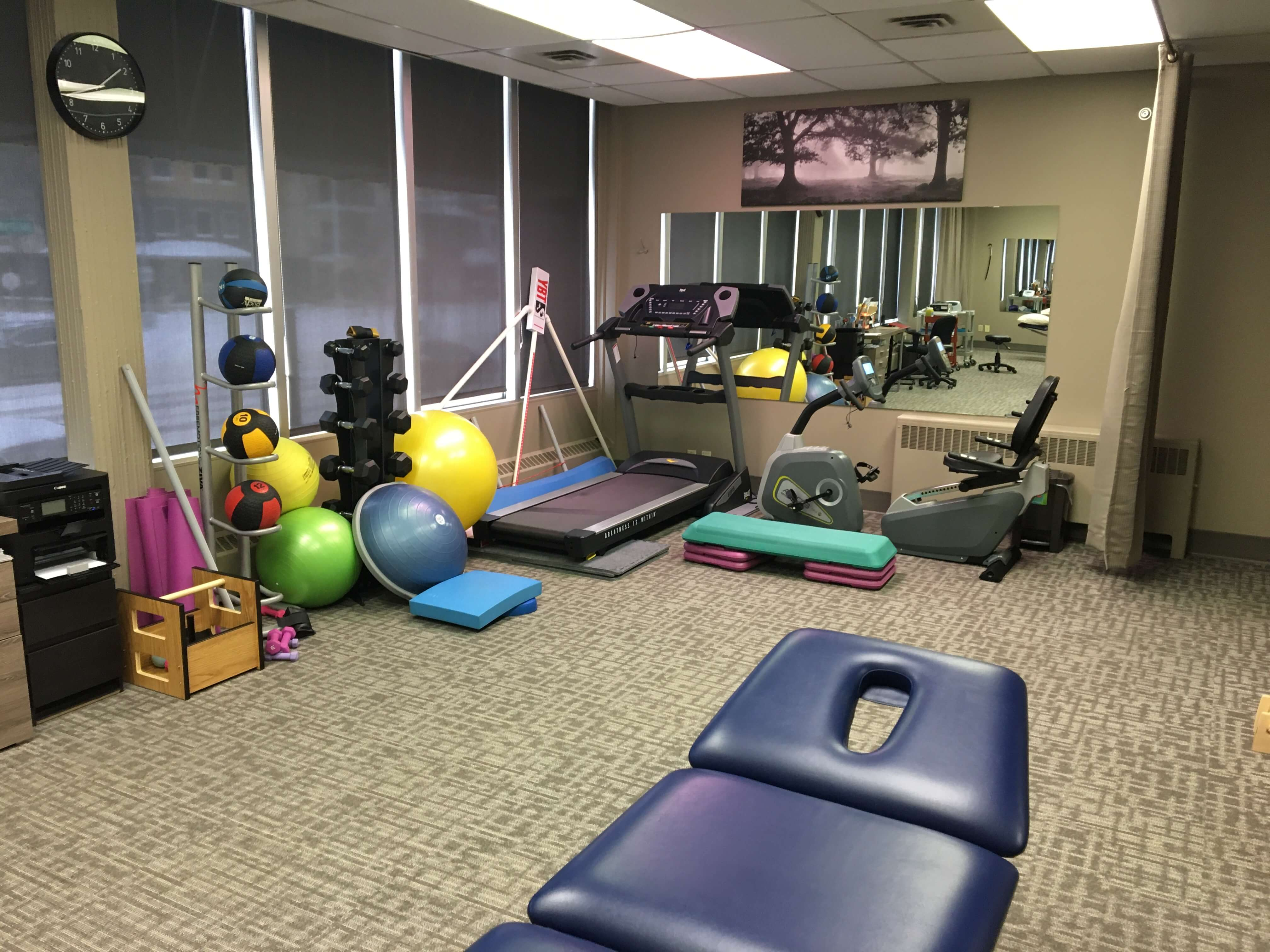 physiotherapy room with exercise equipment
